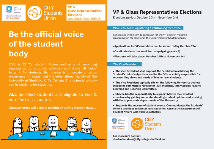 VP & Class Representatives Elections - Academic year 2018-19