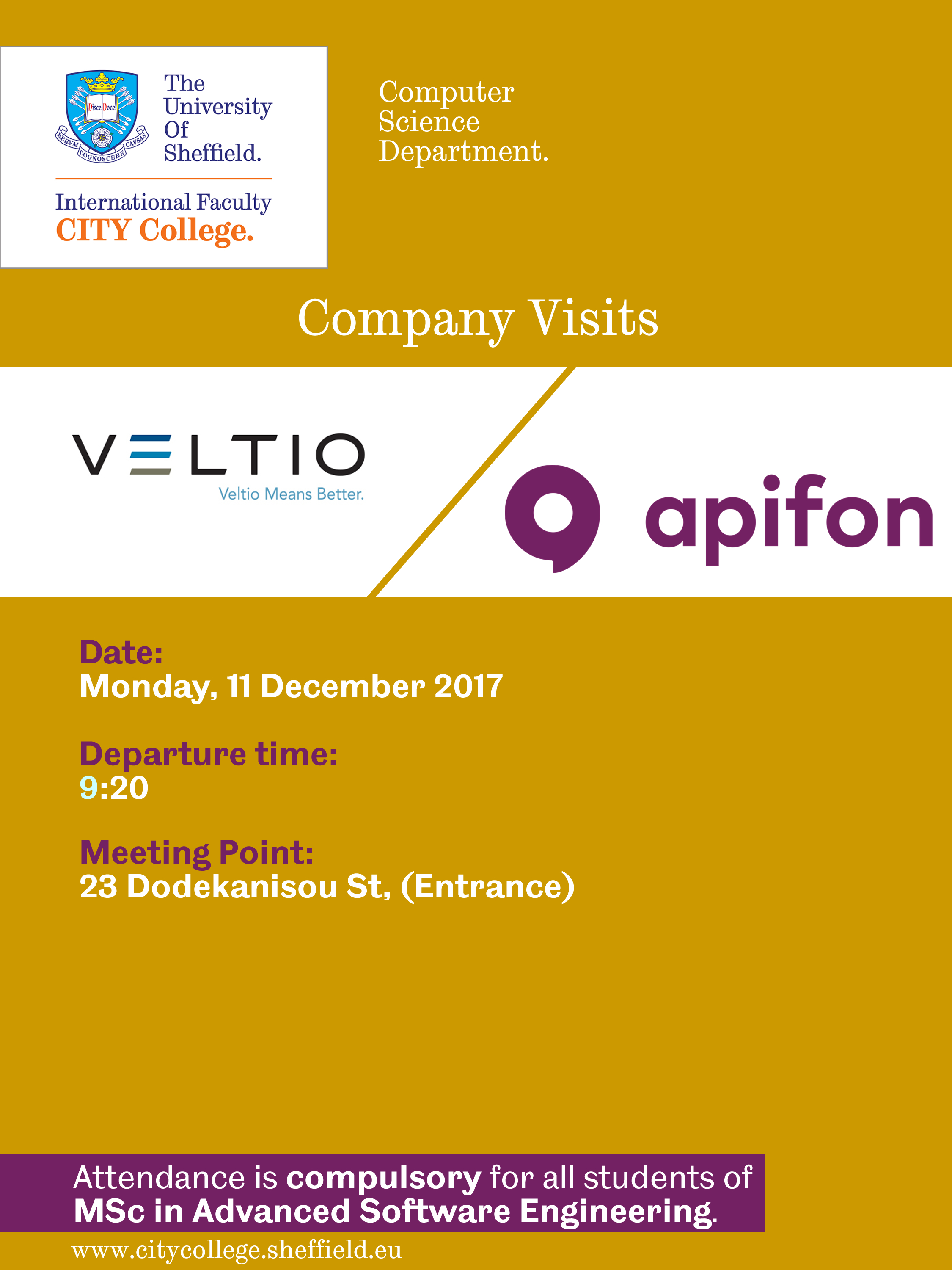 Company Visit to Veltio and Apifon by the International Faculty CITY College Computer Science students