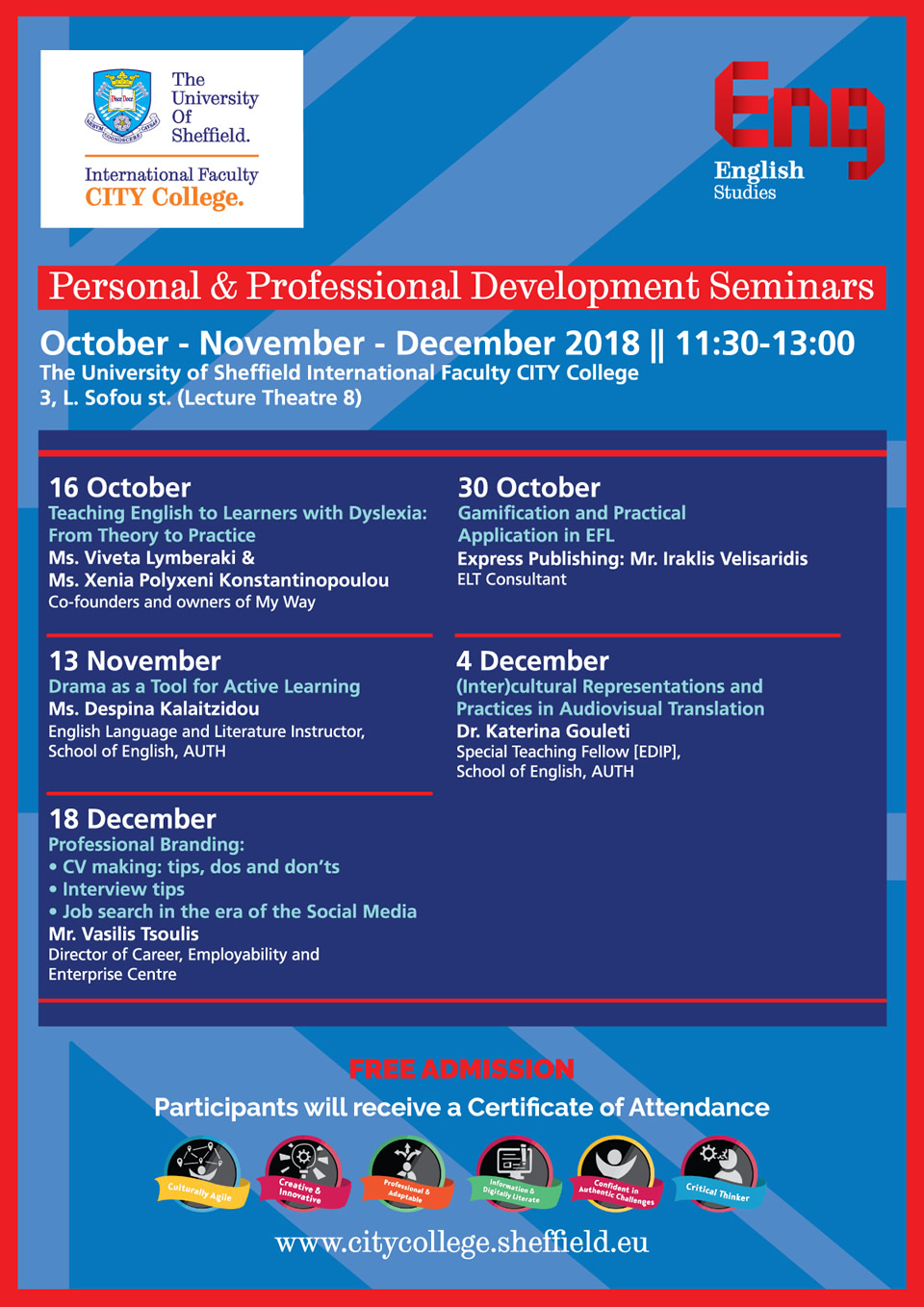 Personal & Professional Development Seminars 2018 by the University of Sheffield International Faculty's English Studies Dept
